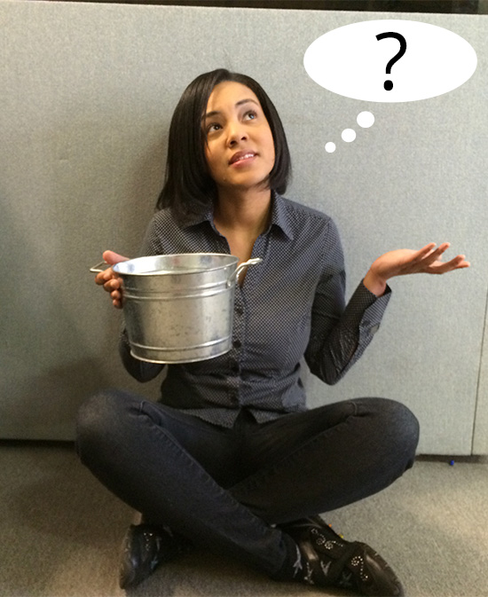 Ria with a tin bucket
