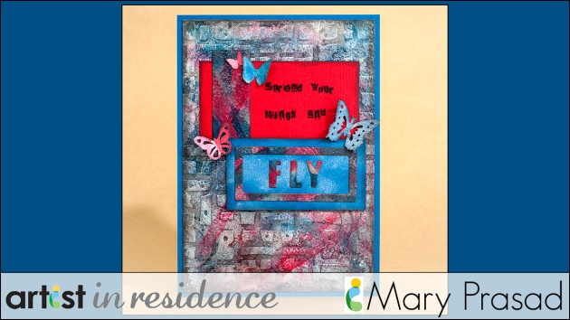 "Mary Prasad's Delicata Grunge card in red and blue and metallics with ""fly"" stencil and butterfly punches."