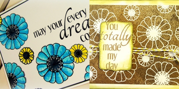 Close-ups of cards with pretty floral stamps created by Monica Edwards and Alison Heikkila for the Imagine and CAS-ual Fridays blog hop.