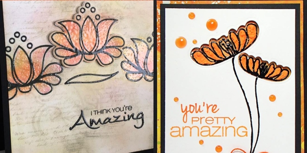 Close-ups of cards with an orange color scheme created by Martha Lucia Gomez and Nadine Carlier for the Imagine and CAS-ual Fridays blog hop.