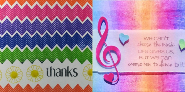 Close-ups of cards with a rainbow color scheme created by Roni Johnson and Neva Cole for the Imagine and CAS-ual Fridays blog hop.