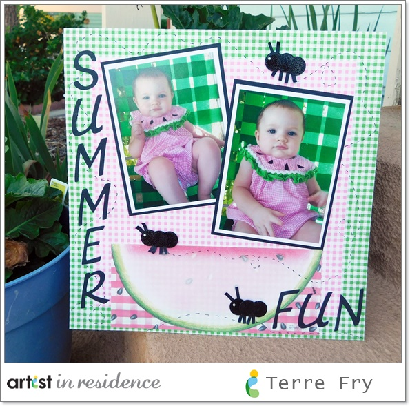 Scrapbook layout with a summer fun theme featuring a baby in a watermelon outfit, a picnic tablecloth backbround and handmade paper ants.
