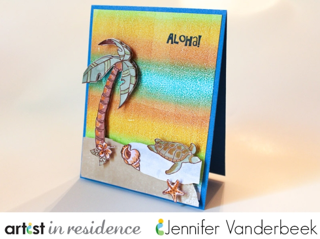 A handmade card using Imagine and Tsukineko inks featuring a Kaleidacolor sunset and hand tinted Turtles, shells and palm tree with the sentiment Aloha! on top.