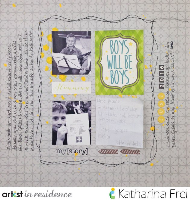 "Scrapbook layout featuring a ""boys will be boys"" theme made using Amplify! in a splattered pattern by Katharina Frei."