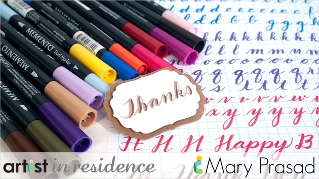 "An finalized ""Thanks"" tag shown with Memento Dual Tip Markers and a practice sheet of brush lettering in multiple colors."
