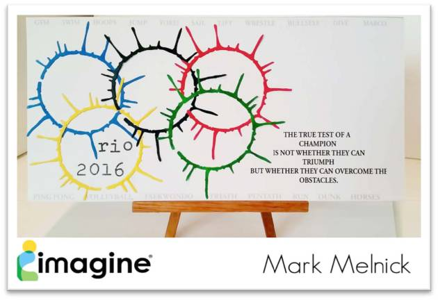 A display card with splatter versions of the Olympic Rings to celebrate the opening of the Olympic Games in Rio. The rings were colored with Memento Inks matching the classic Olympic colors.