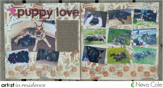 A scrapbook layout about puppies, with a hand inked backbround page made with stencils and Walnut Inks decorated with ink and embossed chipboard pieces and many puppy photos by Neva Cole