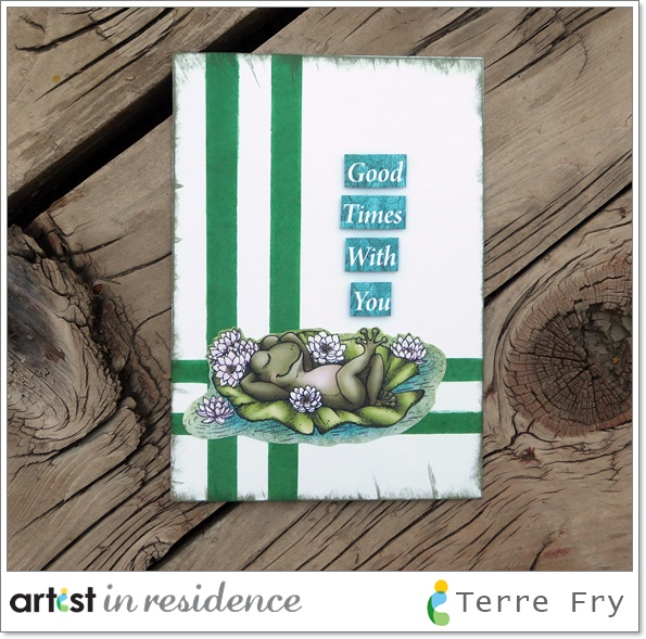 "Handmade card with green stripes inked using Memento Cottage Ivy and a frog floating on a lily pad with the sentiment ""good times with you"" made by Terre Fry."