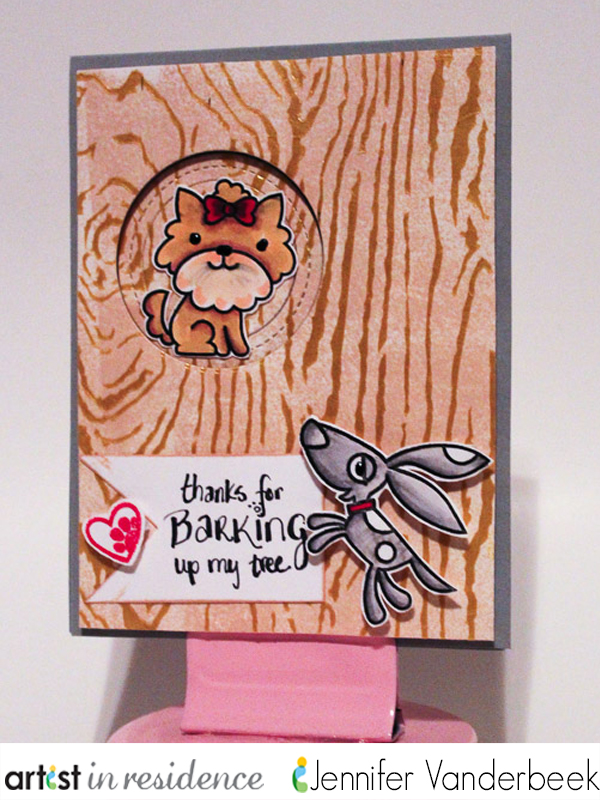 "Two dog images on a woodgrain background card with sentiment ""Thanks for Barking up my tree"" handmade card by Jennfier Vanderbeek."