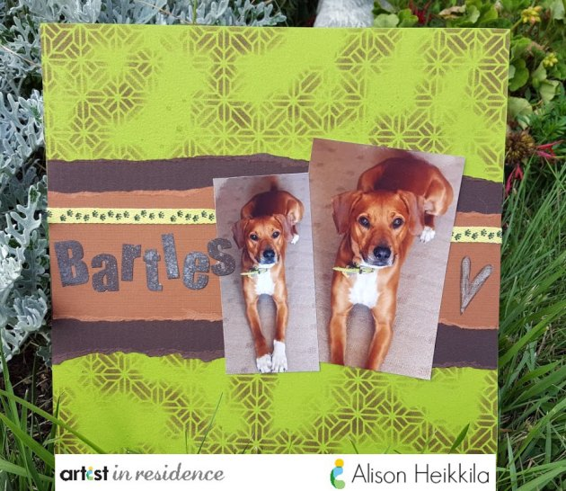 A cute scrapbook page featuring the families four-legged loved one Bartles in greens and browns made with torn scrapbook paper, colored ribbon and an inked background using Memenot Inks by Alsion Heikkila.