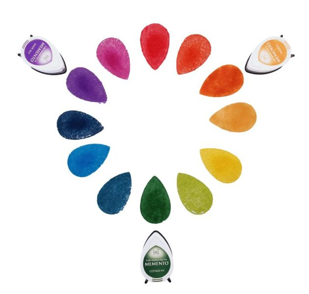 Memento Grape Jelly, Cottage Ivy and Tangelo represent triadic colors on the color wheel.