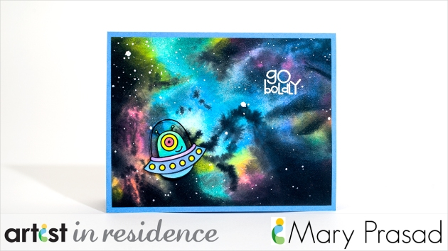 "Handmade card that looks like a Nebula with a cartoon alien made with Radiant Neon inks with the sentiment ""go boldly"" by Mary Prasad"