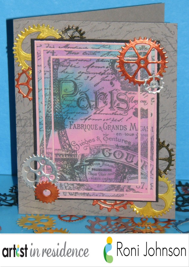 Steam Punk styled card designed and created by Roni Johnson using Imagine, Tsukineko and Xyron products.