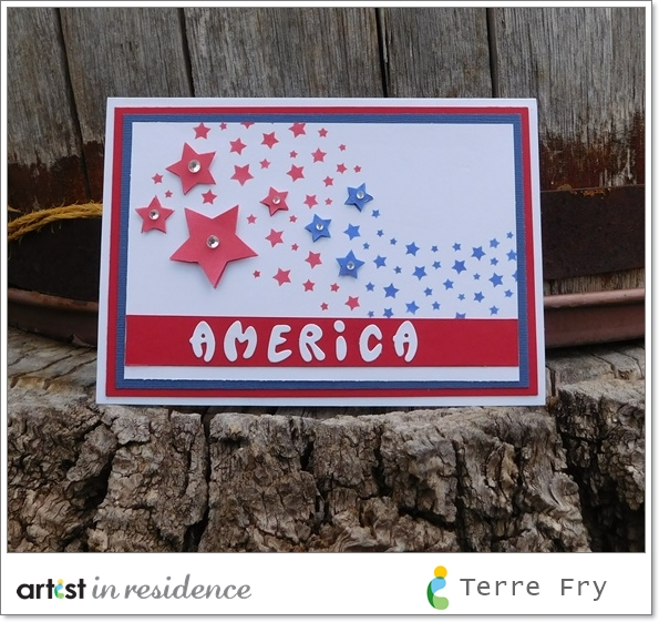 Patriotic red white and blue America card created by Terre Fry with proudcts from Imagine and Xyron.