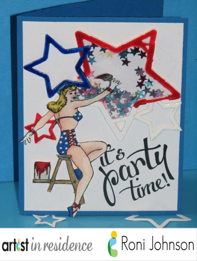 A labor day themed card featuring a watercolored blonde bombshell painting some die cut starts red white and blue in this cute shaker card handmade by Roni Johnson.