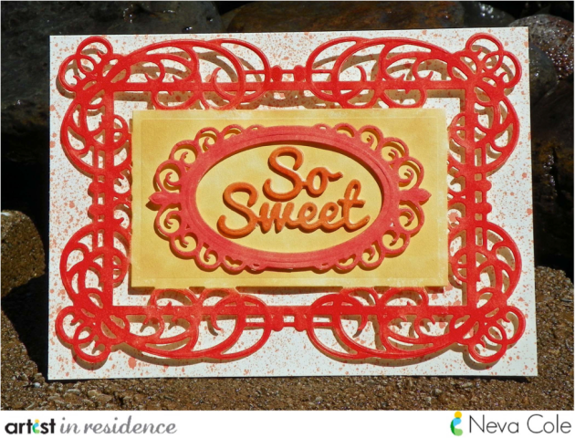 "Handmade Thank you card featuring the sentiment ""So Sweet"" using Spellbinders die cuts and Tsukineko inks by Neva Cole."