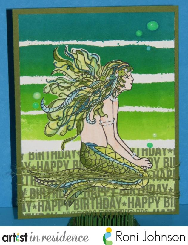 A cheerful green birthday card featuring a watercolored Mermaid made using Memento Dual Tip Markers, Kaleidacolor ink and irRESISTible Pico Embellishers by Roni Johnson
