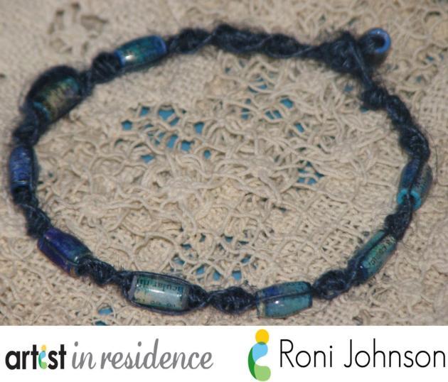 handmade Paper Beads blue