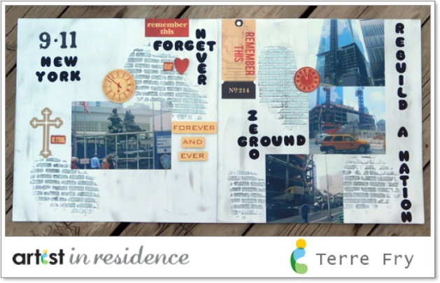 Two-page scrapbook layout by Terre Fry made after her visit to Ground Zero during the building of the new One World Trade Center and the 9-11 Memorial.