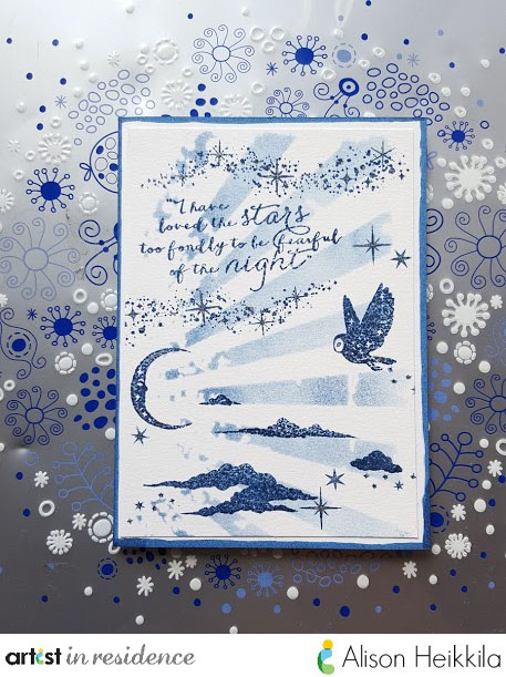 Blue handmade card by Alison Heikkila featuring night sky and an owl made using Nautical Blue Memento Ink.