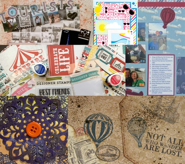 A collage of projects put together by Imagine's AIRs for the Echo Park Paper blog hop.