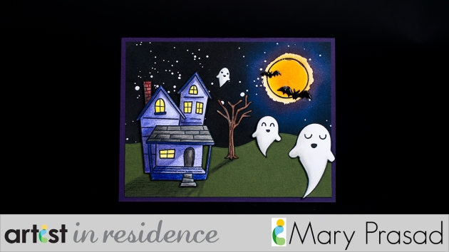 Handmade halloween card featuring stamped and colored ghosts, haunted house and tree as well as a blended ink background with resist Stars and a full moon created by blending Memento inks over GooseBumps spray by Mary Prasad.
