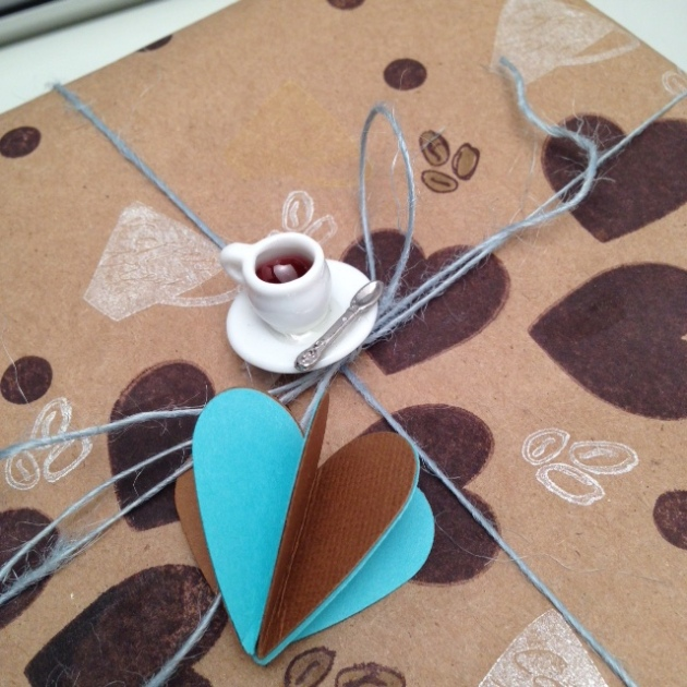 Details of the decor and tag used in a coffee themed handmade giftwrap.