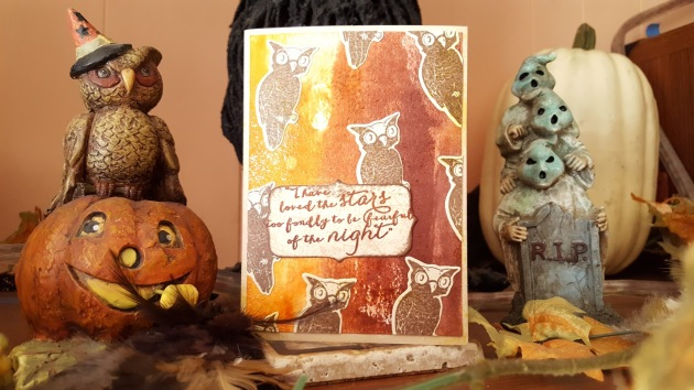 An ombre card in browns featuring several die cut and stamped owls handmade by Alison Heikkila.