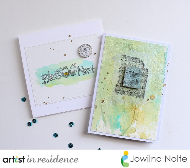 Handmade cards featuring bird image stamps and Kaleidacolor Inks made by Jowilna Nolte.