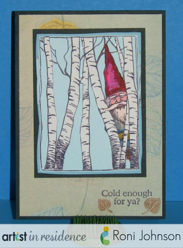 "Handmade card featuring layered pieces featuring a gnome in an aspen grove with the sentiment ""Cold Enough For Ya?"" by Roni Johnson."