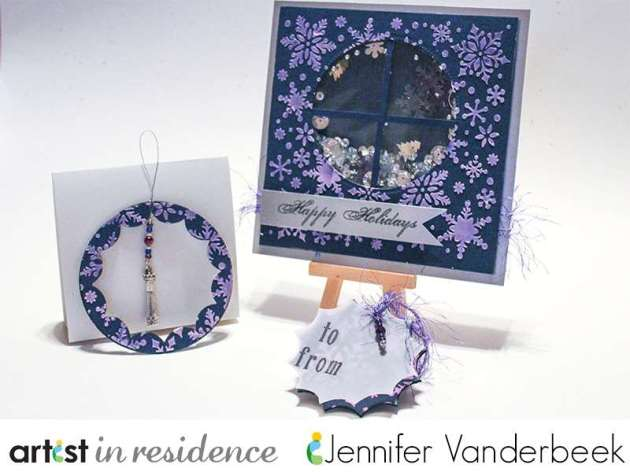 3-in-1 project featuring a shaker card, an ornament and a gift tag featuring navy cardstock embossed with Iridescent Purple Creative Medium by Jennifer Vanderbeek.
