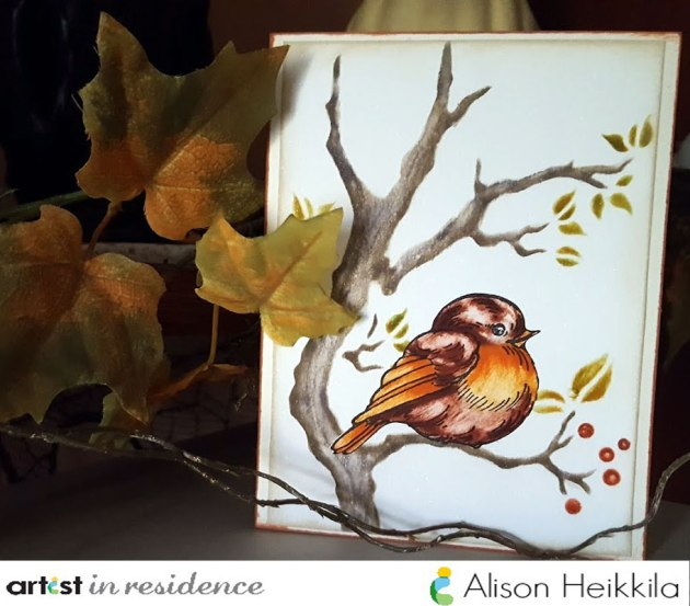 Handmade and painted bird image card by Alison Heikkila using Fantastix and Kaleidacolor ink palettes.