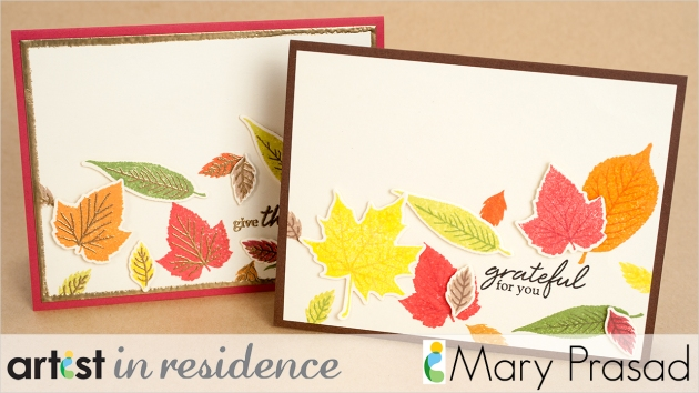 Two fall colored handmade cards featuring many leaves made using Memento inkpads by Mary Prasad.