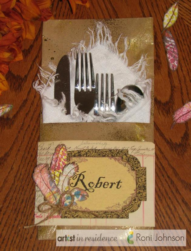 Handmade place card and silverware holder all-in-one perfect for a Thanksgiving meal by Roni Johnson.