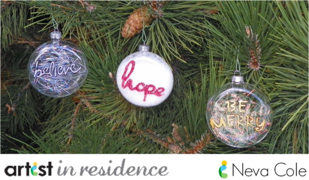 Hand decorated glass christmas tree ornaments made with Creative Medium by Neva Cole.