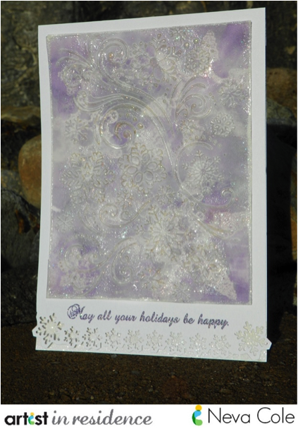 A multi-layered handmade card featuring a lot of sparlke and shine via Imagine's Iredescent Embossing Powder and Ultimate Metallic inks made by Neva Cole.