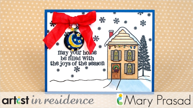Handmade holiday card with a colored house, sentiment and colored metal charm attached with a bow by Mary Prasad.