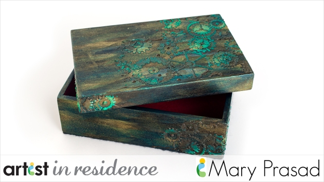 Hand decorated wood box using Creative Medium, Delicata and other Imagine supplies in greens and metallics by Mary Prasad