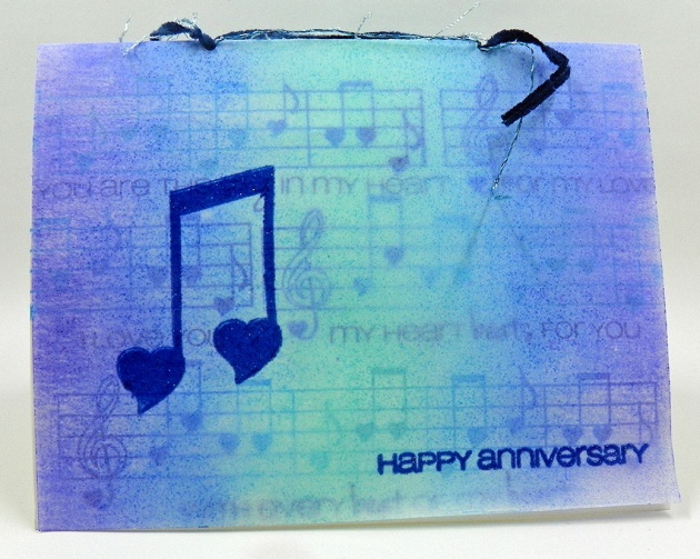Neva Cole uses Kaleidacolor to color vellum for a Happy Anniversary card.
