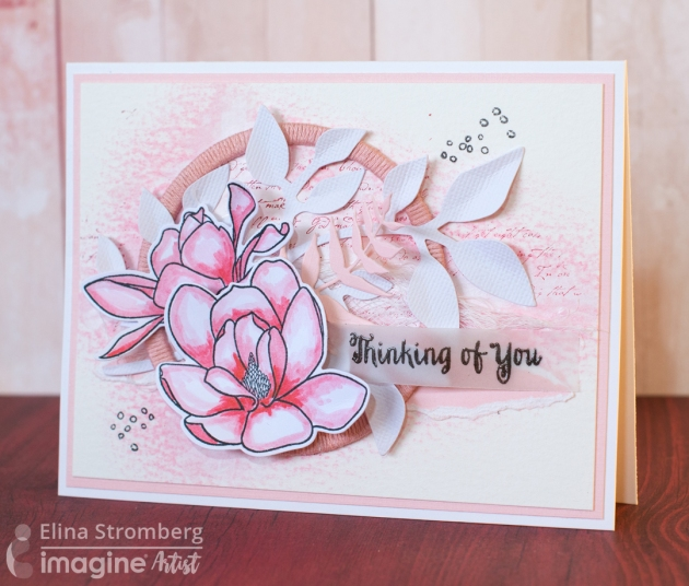 Elina Stromberg creates this beautiful card using Memento Angel Pink.