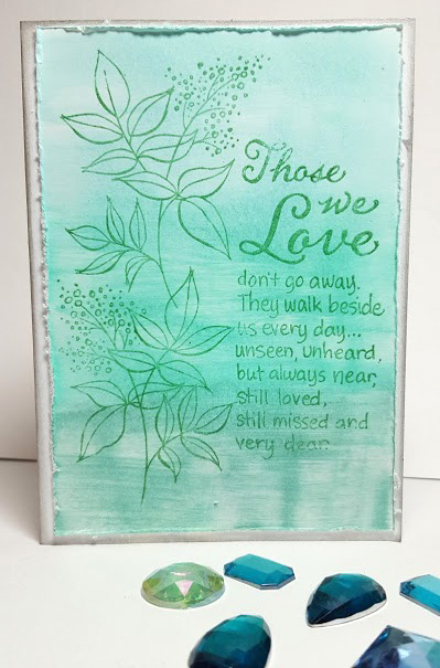 Allison Heikkila creates a Wintergreen sympathy card using Versacolor and Delicata.