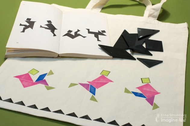 Elina Stromberg creates a tote bag with Chinese puzzle using Memento Luxe. Geometric shapes create the art.