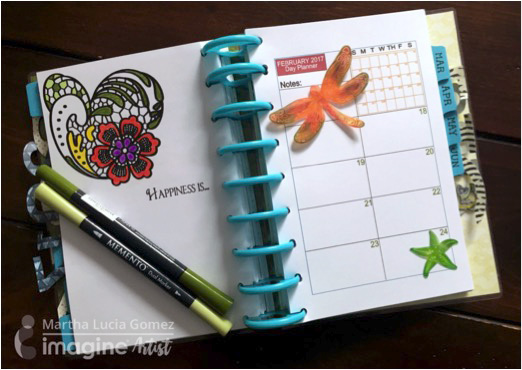 Imagine Artist Martha Lucia Gomez personalizes planner pages with Fireworks! Craft Spray, Walnut Ink and Imagine's Vertigo mixed media sheets.