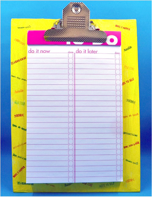 Neva Cole uses Creative Medium, StazOn and Memento Luxe to create a To-Do-List Clipboard to help organize goals and tasks throughout the year.