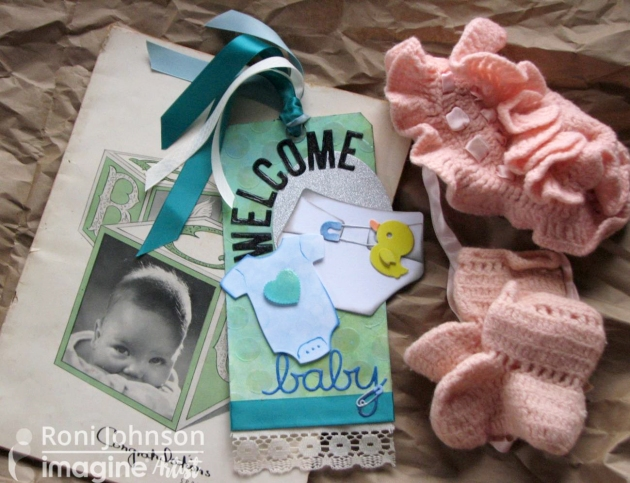 Imagine Artist Roni Johnson layers Radiant Neon Green and Blue to create Neon Wintergreen for this cute Welcome Baby tag.