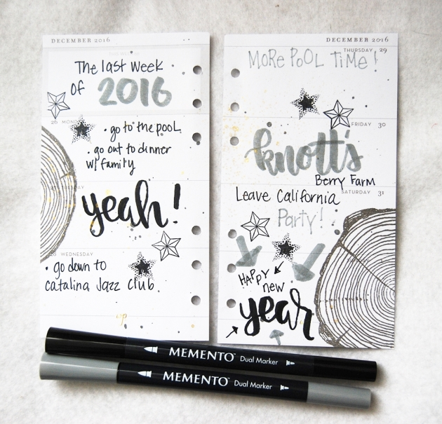 Imagine Artist Tenia Nelson creates this lovely planner page with Memento Ink, VersaFine Ink and Sheer Shimmer Spritz Spray to show her plans to visit Knott's Berry Farm.