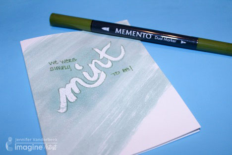 Minty Fresh Treat Topper by Imagine artist Jennifer Vanderbeek using Tsukineko All-Purpose ink, Versamark and Imagine Embossing Powder.