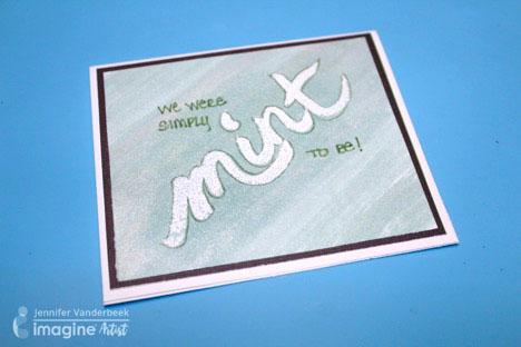 Minty Fresh Treat Topper by Imagine artist Jennifer Vanderbeek using Tsukineko All-Purpose ink, Versamark and Imagine Embossing Powder.