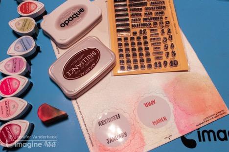 Jennifer Vanderbeek makes stickers with Memento, Brilliance, Walnut ink, and Memento markers.