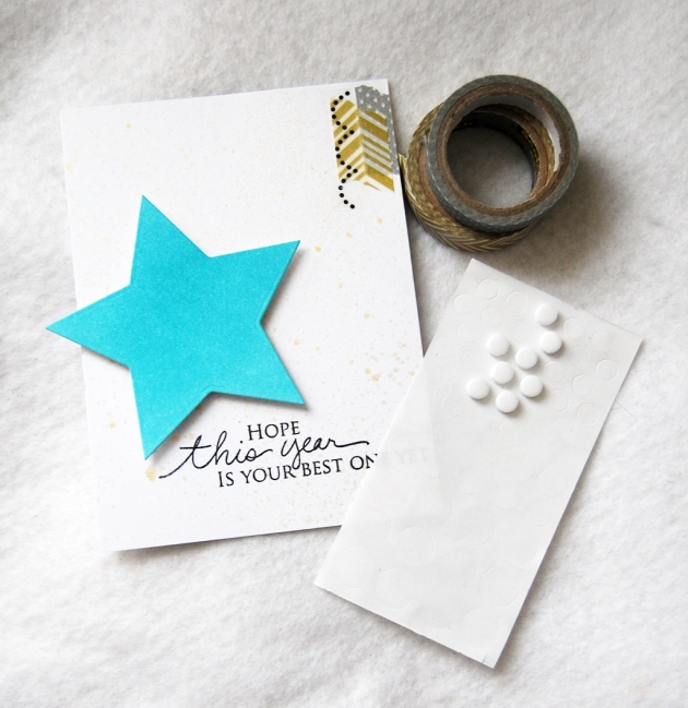 Imagine Artist Tenia Nelson creates a New Years Card with Memento Tuxedo Black and Versamagic Turquoise Gem.